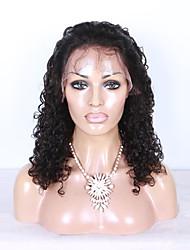 100% de cor preta brasileiro do cabelo humano peruca dianteira do laço natural, virgem crespo encaracolado com cabelo do bebê
