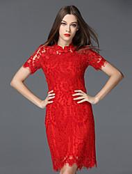 mulheres frmz saindo rendas chinoiserie dresssolid ficar na altura do joelho de manga curta nylon primavera / summermid