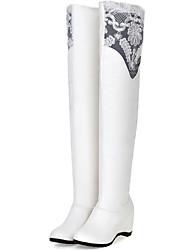 Damen-Stiefel-Büro / Lässig-Kunstleder-Keilabsatz-Modische Stiefel-Schwarz / Weiß
