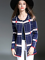 Women's Casual/Daily Simple Long CardiganColor Block Blue / Black Round Neck Long Sleeve Cashmere Fall