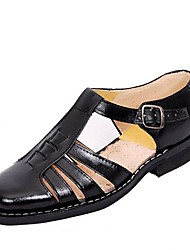 Men's Sandals Summer Leather Casual Flat Heel Others Black Others