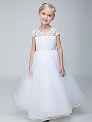 Ball Gown Ankle-length Flower Girl Dress - Lace / Tulle Short Sleeve Jewel with Appliques / Beading