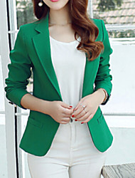 Women's Solid One Button Blazer , Casual/Work Peaked Lapel Long Sleeve