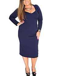 Women's Plus Size / Casual/Daily Vintage Bodycon DressSolid Square Neck Midi Long Sleeve Blue Polyester All Seasons