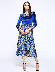 Women's Casual/Daily / Plus Size Vintage / Simple Sheath Dress,Print Round Neck Maxi Long Sleeve Blue / Brown Polyester Summer