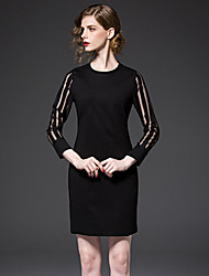 FRMZ  Going out Sophisticated Sheath DressSolid Round Neck Above Knee Long Sleeve Black Rayon / Polyester