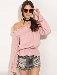 Women's Going out / Casual/Daily Sexy / Street chic Summer / Fall BlouseSolid Boat Neck Long Sleeve Pink