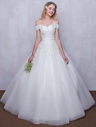 Ball Gown Wedding Dress Floor-length Off-the-shoulder Tulle with Beading / Lace