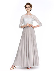LAN TING BRIDE A-line Mother of the Bride Dress - Elegant Ankle-length 3/4 Length Sleeve Chiffon Lace with Draping