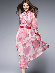 BURDULLY  Women's Work Vintage Loose DressFloral Stand Knee-length Long Sleeve Pink Rayon Spring