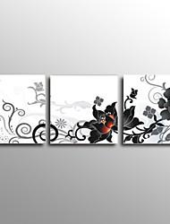 Peint à la main Abstrait / Nature morte / A fleurs/Botanique Peintures à l'huile,Modern / Classique / Style européen Trois Panneaux Toile