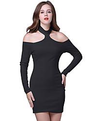 Women's Club Sexy / Simple Bodycon DressSolid Strapless Backless Mini Long Sleeve Spring Mid Rise Micro-elastic Medium