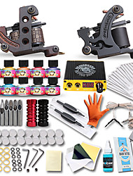 Complete Tattoo Kit 2 Cast Iron Tattoo Machines Liner & Shader LCD Power Supply 10 Tattoo Inks 50 Tattoo Needles