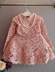 Girl's Casual/Daily Solid DressPolyester Spring / Fall Pink / Red