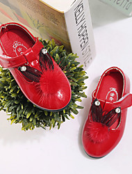 Girl's Flats Fall Flats Leatherette Casual Flat Heel Sparkling Glitter Pink / Red / White / Peach Walking
