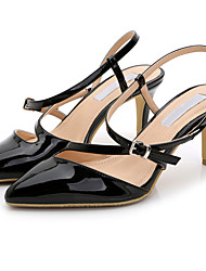 Damen-Sandalen-Büro / Kleid / Lässig-Lackleder-Stöckelabsatz-Absätze / Spitzschuh / Sandalen-Schwarz / Weiß / Silber / Gold / Champagner