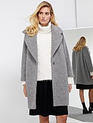 с + произвести впечатление на работу простой coatsolid женщин достиг пика отворот с длинным рукавом зимой серая шерсть / полиэстер толщиной