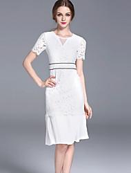 FRMZ  Women's Work Simple Sheath DressSolid Round Neck Knee-length Short Sleeve White / Black