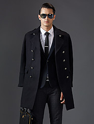 Men's Casual/Daily Simple Coat,Solid Square Neck Long Sleeve Winter Blue / Black Wool Thick
