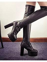 Damen-Stiefel-Outddor-PU-Blockabsatz-Modische Stiefel-Schwarz
