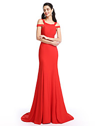 Formal Evening Dress Trumpet / Mermaid Straps Sweep / Brush Train Jersey with