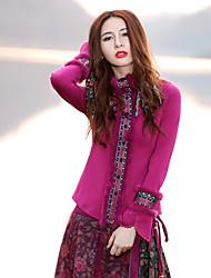 Damen Standard Pullover-Ausgehen / Übergröße Retro Stickerei Lila Rundhalsausschnitt Langarm Baumwolle / Elasthan Frühling / Herbst Mittel