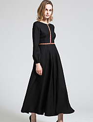 BORME Women's Round Neck Long Sleeve Maxi Dress-Y040