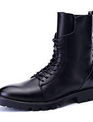 Men's Boots Fall / Winter Fashion Boots / Comfort / Round Toe PU Casual Low Heel Lace-up Black Others