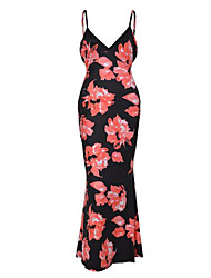 Women's Going out / Party Sexy / Simple Bodycon DressFloral Strap Maxi Sleeveless