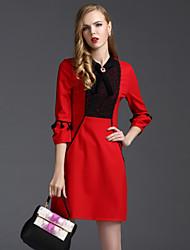 Damen Hülle Kleid-Arbeit Einfach Stickerei Rundhalsausschnitt Übers Knie ¾-Arm Rot Baumwolle Polyester Frühling Hohe Hüfthöhe