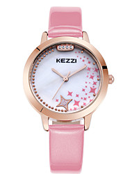 KEZZI Women's Fashion Quartz Casual Strap Watch Leather Belt Round Alloy Star Diamond Dial Watch Cool Watch Unique Watch