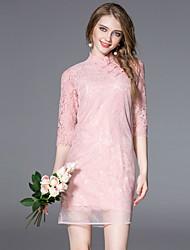 jojo hans mulheres que saem da bainha chinoiserie dresssolid estar acima na altura do joelho de poliéster manga rosa