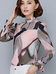 Women's Ruffle Spring Fall Go out Casual Tops Fashion Wild Pink Printing Stand Collar Long Sleeve Chiffon Blouse