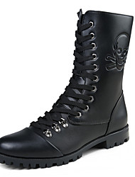 Men's Boots Fall / Winter Combat Boots / Round Toe PU Casual Flat Heel  / Zipper / Lace-up Black