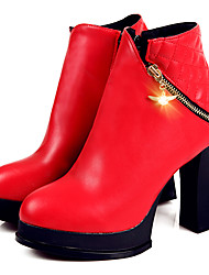 Women's Boots Fall / Winter Riding Boots / Combat Boots  Casual Chunky Heel Zipper Black / Red / White Others