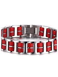 Armbänder ID Armbänder Edelstahl / Silikon Kreisform Modisch Halloween / Geburtstag / Party / Alltag / Normal Schmuck Geschenk Rot,1 Stück