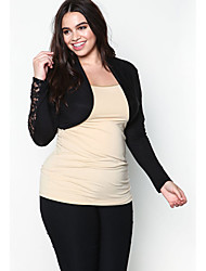 Women's Casual/Daily Cute Fall Tank Top,Solid Round Neck Long Sleeve Black Others Opaque