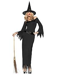 Costumes de Cosplay / Costume de Soirée Sorcier/Sorcière Fête / Célébration Déguisement Halloween Noir Couleur PleineRobe / Ceinture /