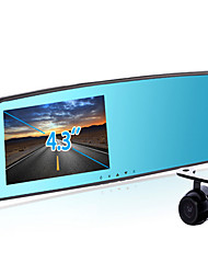 lente dupla espelho retrovisor gravador de condução de 4,3 polegadas de monitoramento de alta definição 1080p estacionamento revertendo