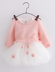 Girl's Going out Striped Dress / BlouseCotton Spring / Fall Blue / Pink