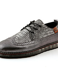Men's Flats Spring / Summer / Fall / Winter Comfort / Pointed Toe Other Animal Skin Casual Flat Heel Lace-up Black