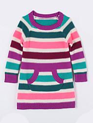 Mädchen Pullover & Cardigan-Lässig/Alltäglich Gestreift Baumwolle Herbst Lila