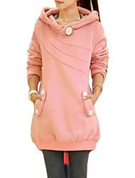 Blusa Premaman Autunno,Tinta unita / Collage Rotonda Cotone / Acrilico Rosa / Giallo Manica lunga Medio spessore