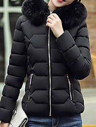Women's Solid Blue / Pink / White / Black / Gray Down Coat,Cute / Street chic Hooded Long Sleeve