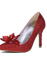 Feminino-Saltos-Saltos-Salto Agulha-Vermelho / Branco-Cetim com Stretch-Casual