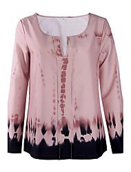 Damen Druck Retro Lässig/Alltäglich T-shirt,U-Ausschnitt Herbst Langarm Rosa Polyester Mittel