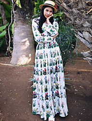 Whisper Wheat Women's Going out / Holiday Boho A Line DressFloral V Neck Maxi Long Sleeve White Linen Spring High Rise