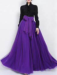 Women's Swing Solid Layered Skirts High Rise Maxi Micro-elastic Summer