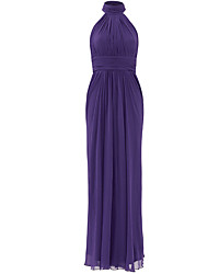 Formal Evening Dress Trumpet / Mermaid High Neck Floor-length Chiffon with Pleats