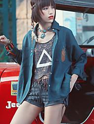 Aporia.As Women's Shirt Collar Long Sleeve Shirt & Blouse Green-MZ08017